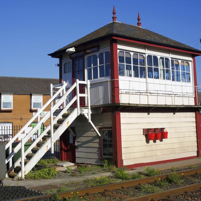 """""""Oakham Level Crossing Signal Box"""" stock image"""