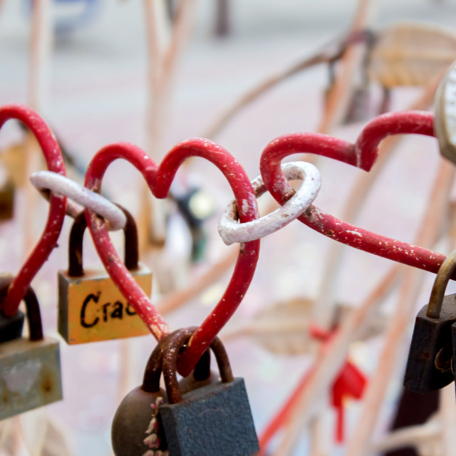 """Heart shaped love padlock - beautiful wedding day custom. Shallow depth of field"" stock image"