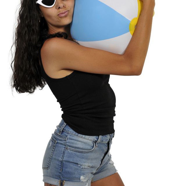 """Woman Holding Beach ball"" stock image"