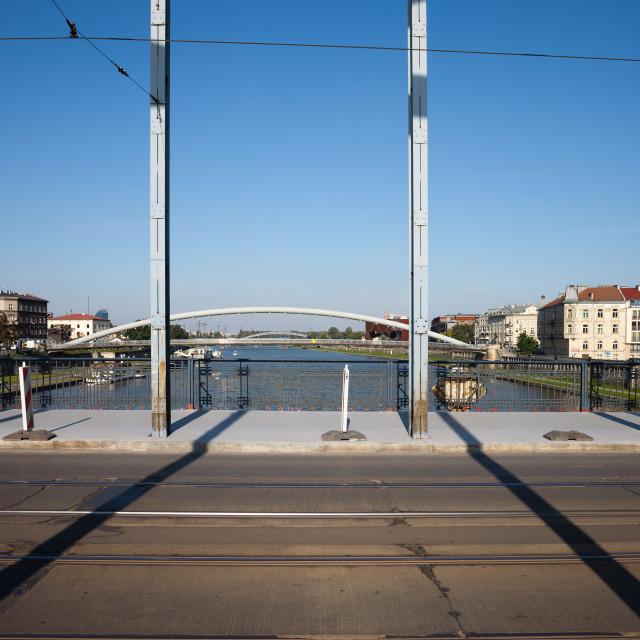 """""""Jozef Pilsudski Bridge in Krakow"""" stock image"""