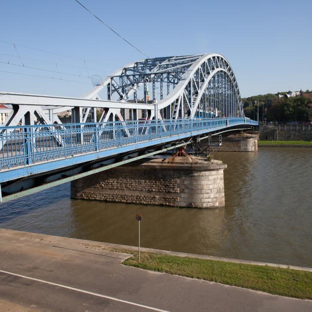 """""""Marshal Jozef Pilsudski Bridge in Krakow"""" stock image"""