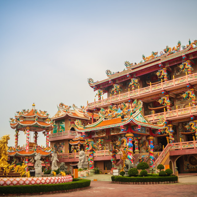 """Beautiful architectural buildings at Wihan Thep Sathit Phra Kitti Chaloem,..."" stock image"