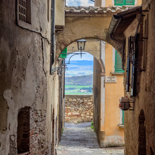 """Small narrow streets in wine city of Montepulciano in Tuscany, Italy"" stock image"