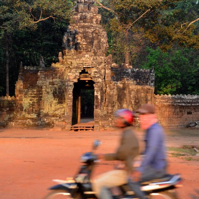 """CAMBODIA SIEM REAP ANGKOR THOM GATE"" stock image"