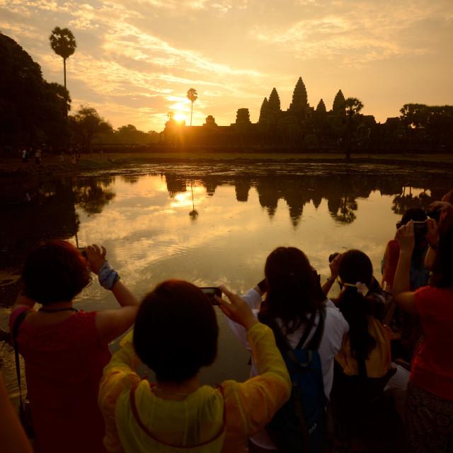 """CAMBODIA SIEM REAP ANGKOR WAT TEMPLE SUNRISE"" stock image"