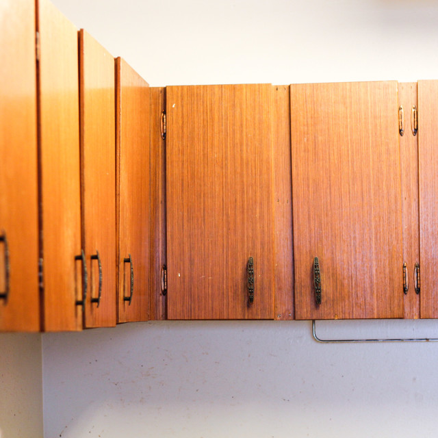 """old kitchen cabinets in old house"" stock image"