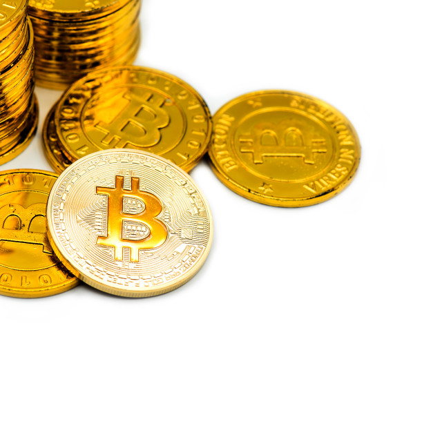 """""""Gold Bitcoin. New virtual money for blockchain technology business."""" stock image"""