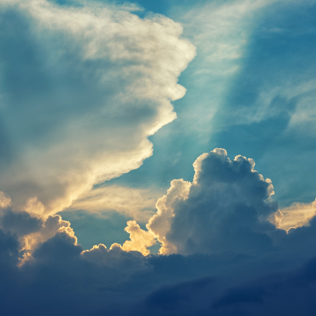 """""""The clouds and the sun"""" stock image"""