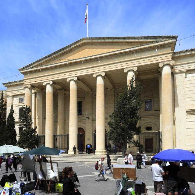 """""""The Law Courts building, Republic St, Valletta city, Malta"""" stock image"""
