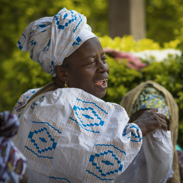 """Bissau, Republic of Guinea-Bissau - January 31, 2018: Women singing and dancing traditional songs at a community meeting in the city of Bissau, Guinea-Bissau, West Africa"" stock image"