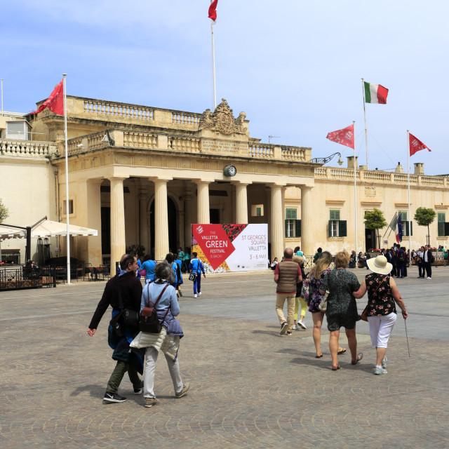 """St Georges Square, Republic St, Valletta city, Malta"" stock image"