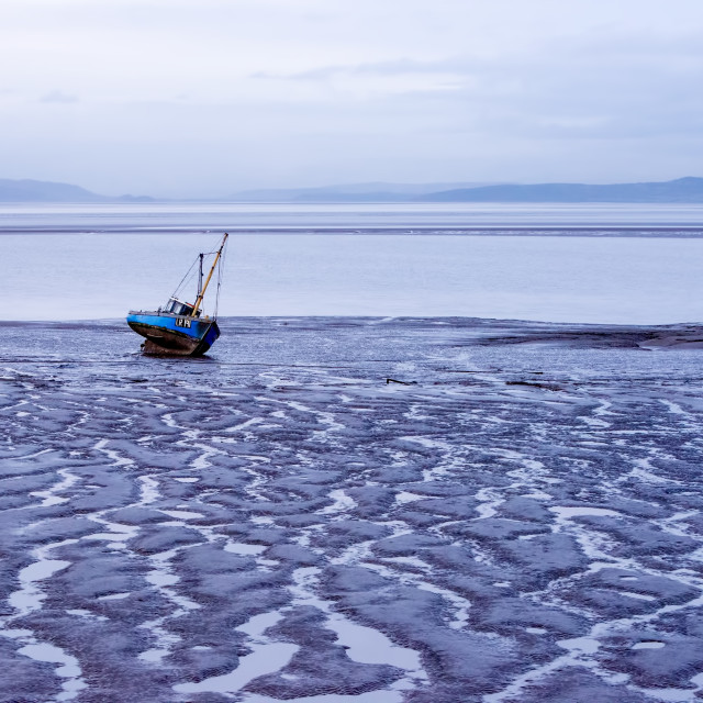 """""""View of a boat on a seabed"""" stock image"""