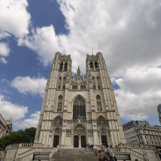 """""""Cathedral of San Miguel and Santa Gudula in the Belgian capital."""" stock image"""