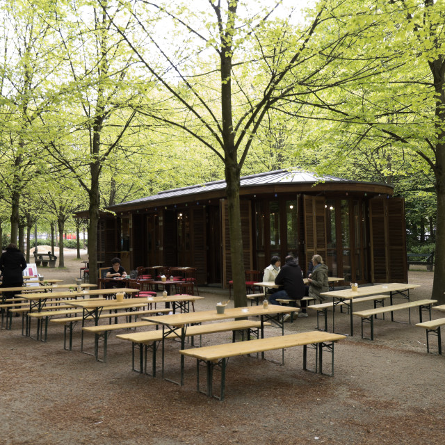 """""""Brussels, BelgiuTerrace with people taking a drink in Brussels capital of..."""" stock image"""