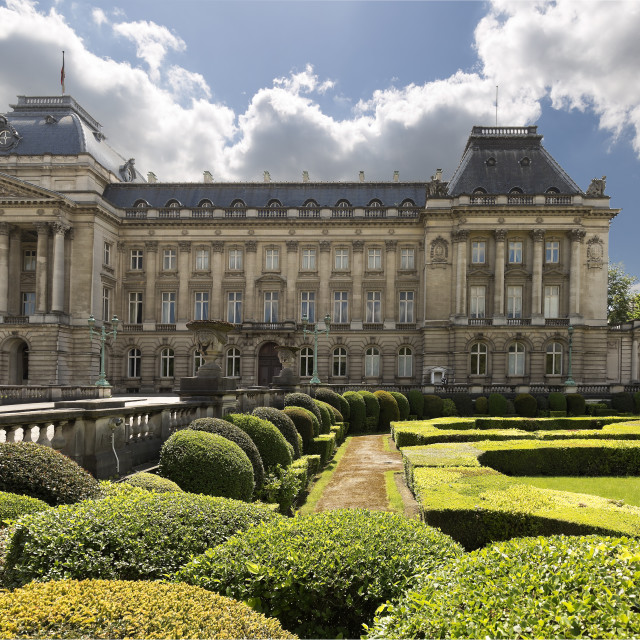 """""""Views of the royal palace with its gardens in the capital of Belgium."""" stock image"""
