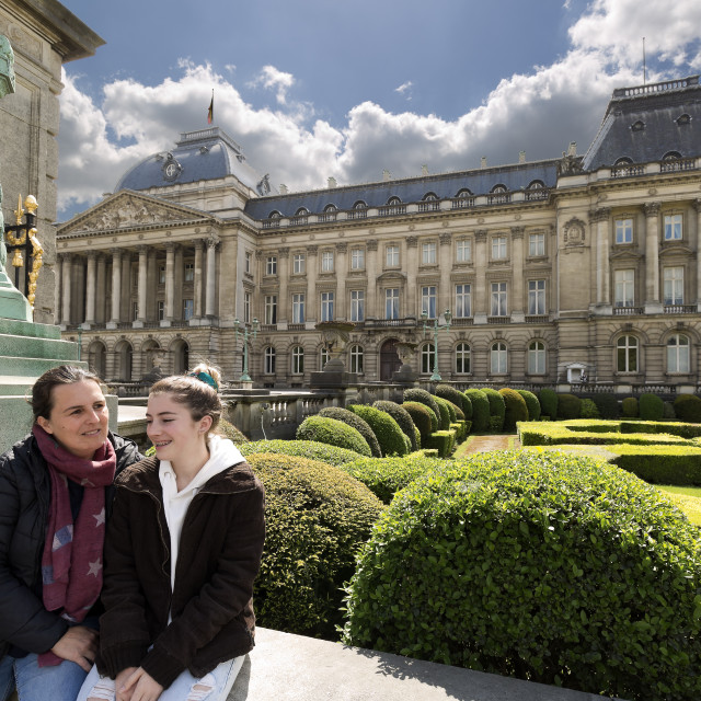 """""""Mother and daughter next to the royal palace of Brussels."""" stock image"""