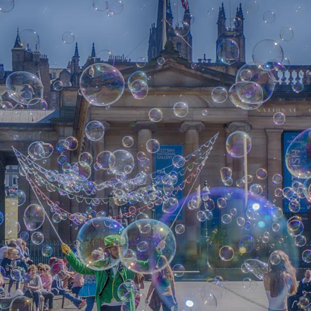 """Man With Bubbles (Edinburgh)"" stock image"