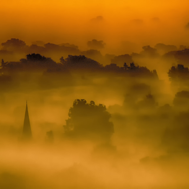 """Mist Over Box Hill"" stock image"