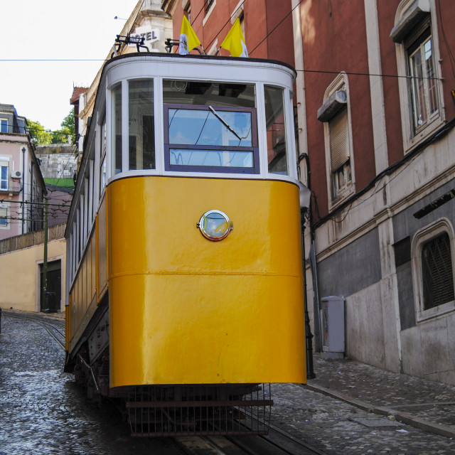 """The Gloria Funicular (Elevador da Gloria) in the city of Lisbon, Portugal. Gloria Funicular connects the Pombaline downtown with Bairro Alto"" stock image"