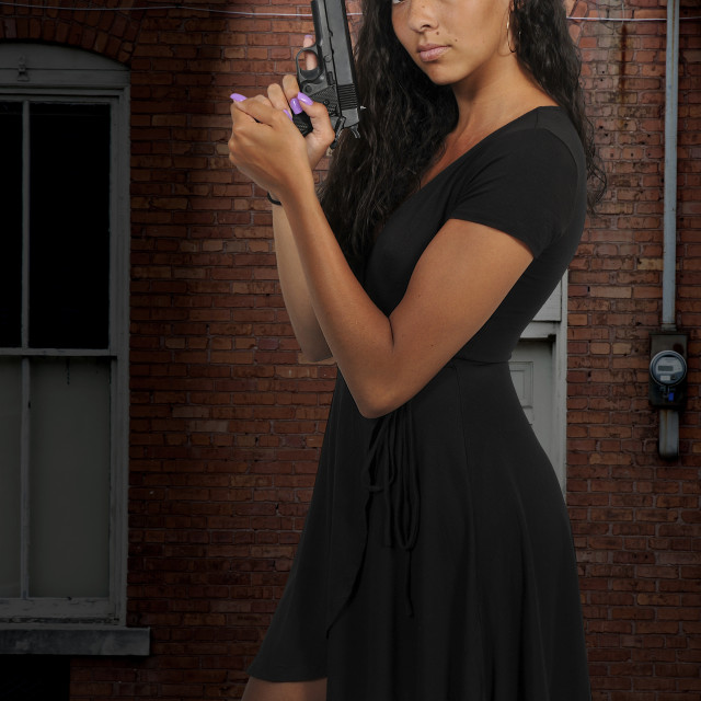 """Woman with Pistol"" stock image"
