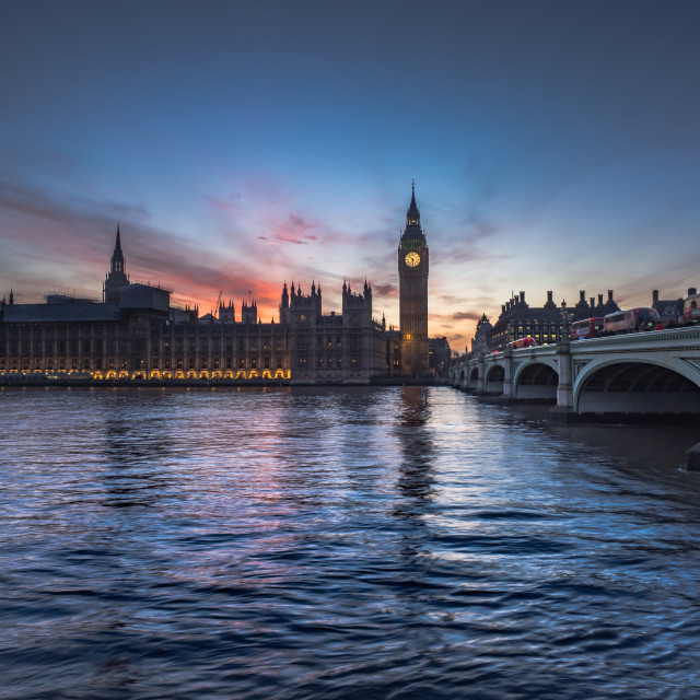 """Westminster sunset glow"" stock image"