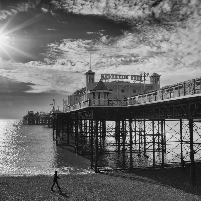 """Brighton Palace Pier winter sun black and White"" stock image"