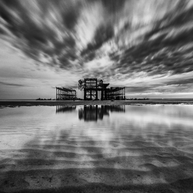 """West pier black & white"" stock image"
