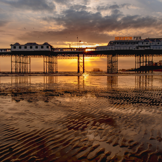 """Sunkissed at Brighton Palace Pier"" stock image"