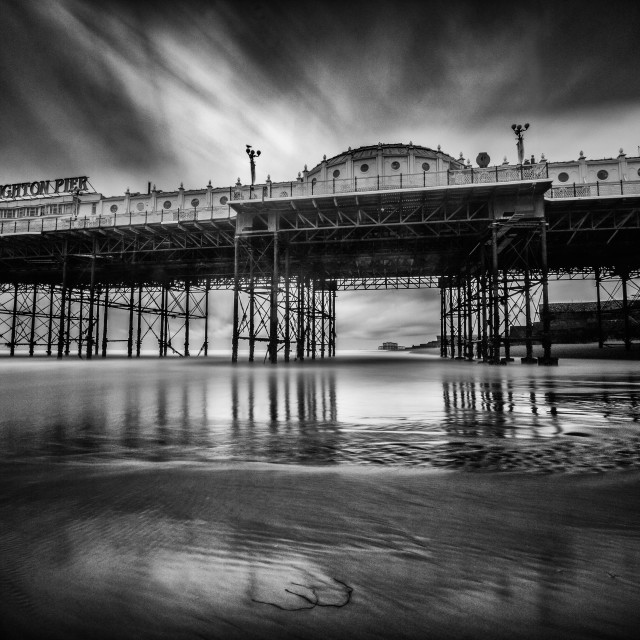 """Black & White Brighton pier"" stock image"