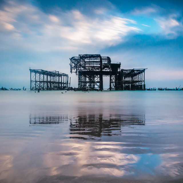 """The grand old lady - the West Pier"" stock image"