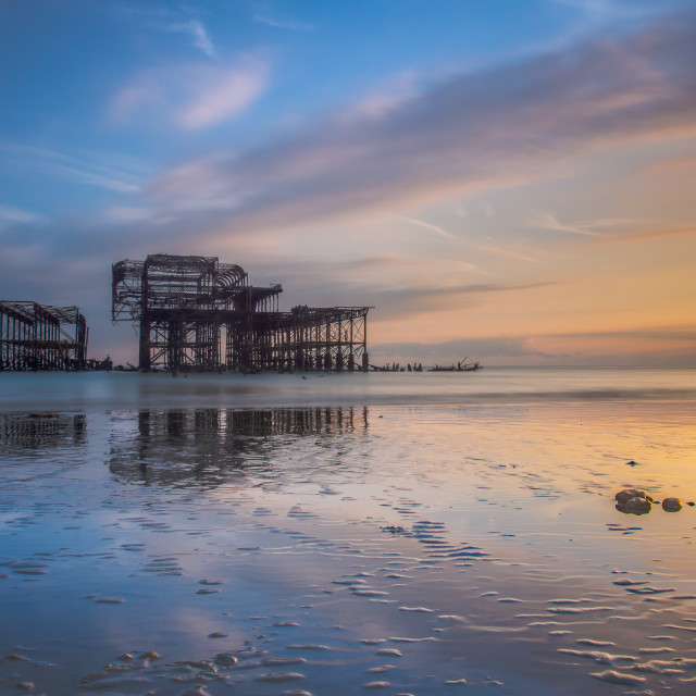 """Brighton West Pier Standing still"" stock image"