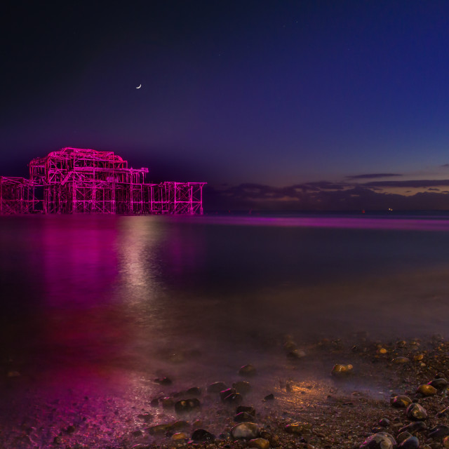 """Pink West Pier at night"" stock image"