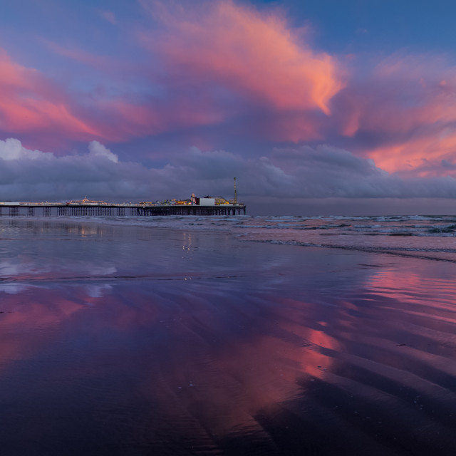 """Purple clouds around Palace Pier panorama"" stock image"