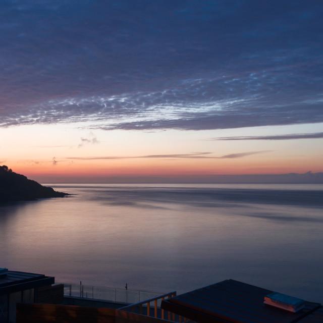 """""""Carbis Bay, Cornwall at dusk"""" stock image"""