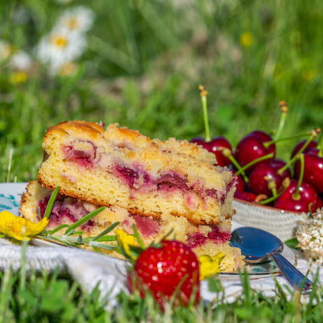 """Portion of cherry cake with ripe strawberries around and yellow blooms"" stock image"