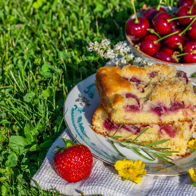 """Portion of cherry cake with ripe strawberries around and few yellow blooms"" stock image"