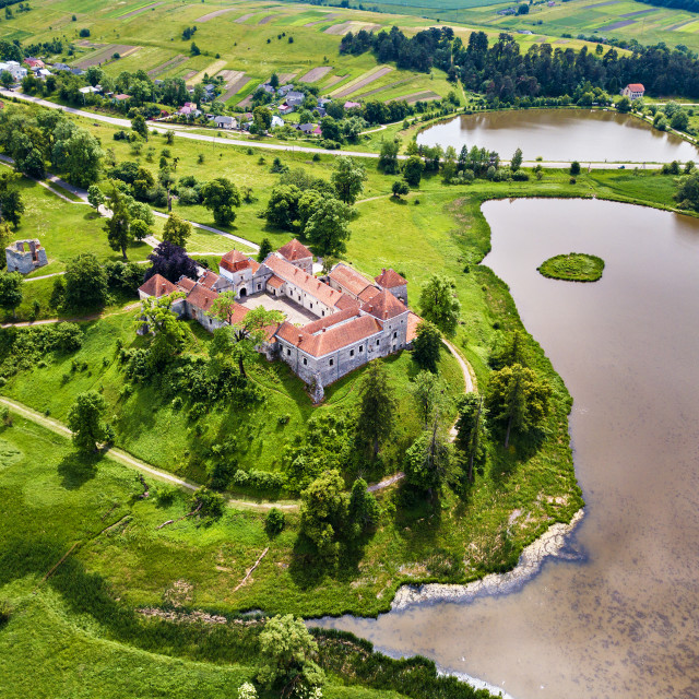 """Aerial view of Svirzh Castle. Summer park and lake on the hills"" stock image"