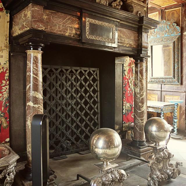 """""""COPENHAGEN, DENMARK - marble fireplace in Rosenborg castle"""" stock image"""