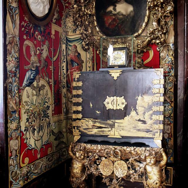 """""""COPENHAGEN, DENMARK - Japanes lacquered cabinet in Rosenborg castle"""" stock image"""