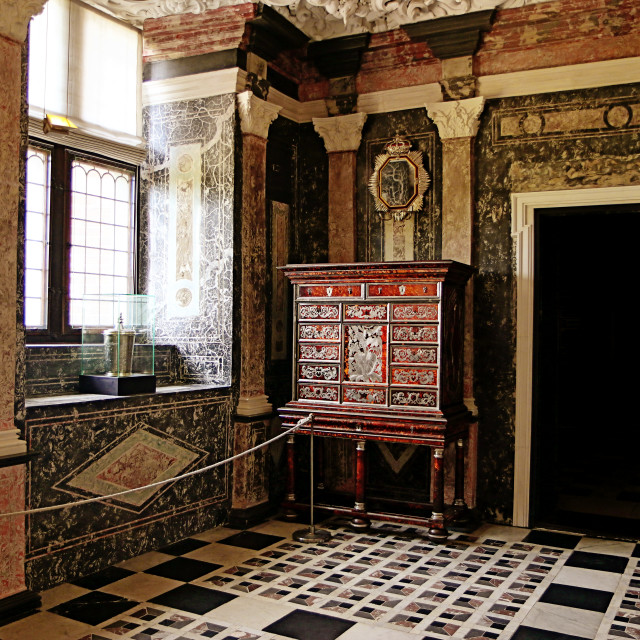 """COPENHAGEN, DENMARK - the Marble Chamber of Rosenborg castle"" stock image"