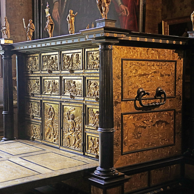 """COPENHAGEN, DENMARK - Escritoire in ebony with gilt bronze reliefs at Rosenborg castle"" stock image"