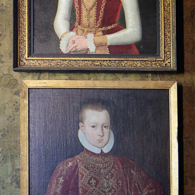 """COPENHAGEN, DENMARK - portrait of Queen Sophie and king Christian IV age 7 at Rosenborg castle"" stock image"