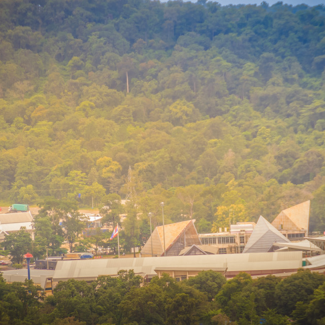 """""""Peaceful forest and mountains over Chong Mek checkpoint terminal, the land..."""" stock image"""