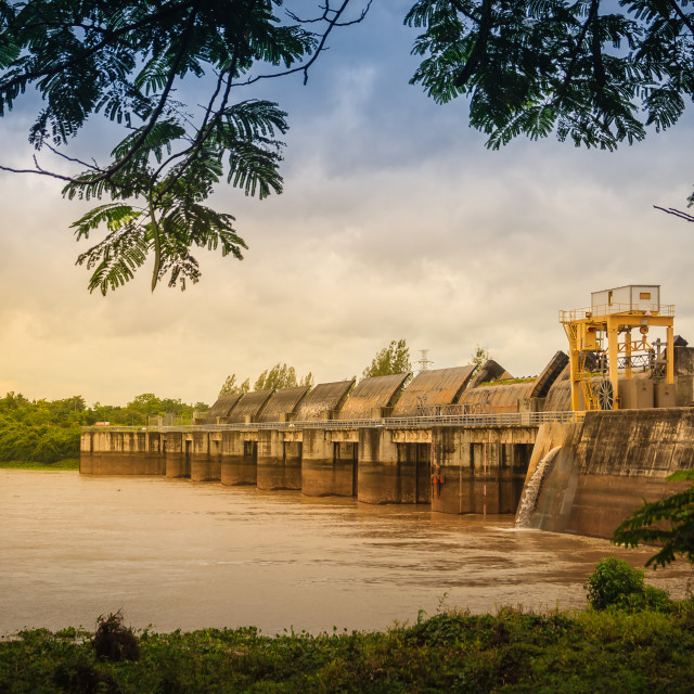 """""""The Pak Mun Dam, a barrage dam and run-of-the-river hydroelectric plant of..."""" stock image"""