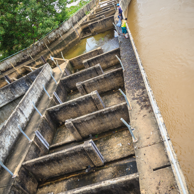 """""""Old fish ladder without water appears to have been unsuccessful to allow fish..."""" stock image"""