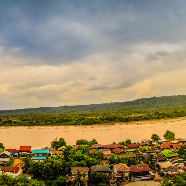 """""""Beautiful landscape view of border village nearby Mun River Mouth, the point..."""" stock image"""