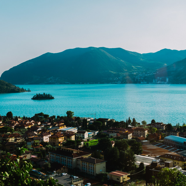 """panorama view of Lake Iseo in Lombardy, Italy"" stock image"