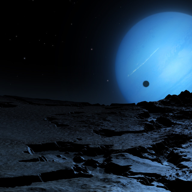 """Neptune from Triton, illustration"" stock image"