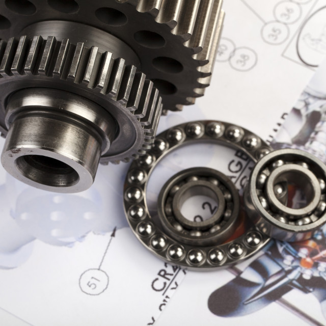 """Gears and cogs on a blueprint"" stock image"