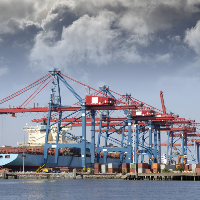 """Container port with ship"" stock image"